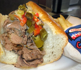 Delicious Italian beef sandwich at Charcoal Delights Restaurant